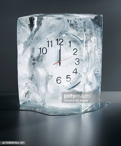 Alarm clock frozen in ice, close-up