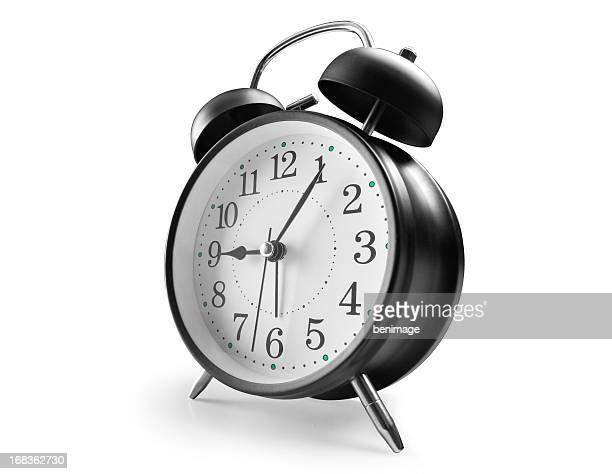 alarm clock in black with numbers - alarm clock stock pictures, royalty-free photos & images