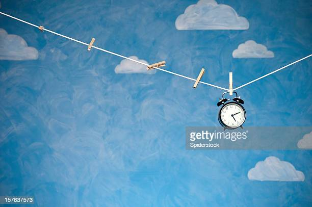 Alarm Clock On Clothesline