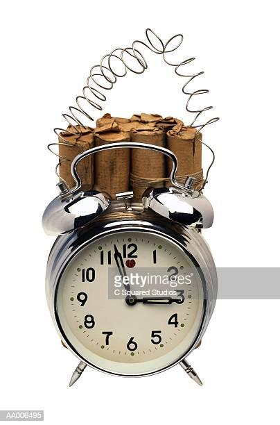alarm clock with dynamite - explosive material ストックフォトと画像