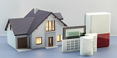 Alarm system and house, 3d illustration