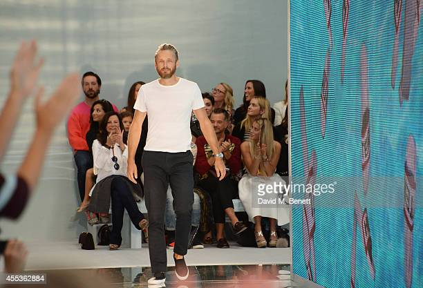 Alasdhair Willis Creative Director of Hunter walks the runway at the Hunter Original SS 2015 catwalk show at on September 13 2014 in London England