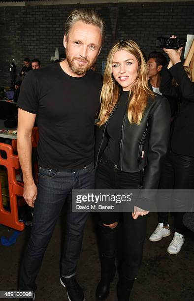 Alasdhair Willis Hunter creative director and Abbey Clancy attend the Hunter Original Spring/Summer 2016 Collection during London Fashion Week at...