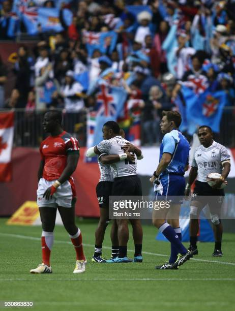 Alasio Sovita Naduva and teammate Amenoni Nasilasila of Fiji celebrate defeating Kenya during the gold medal game at Canada Sevens the Sixth round of...