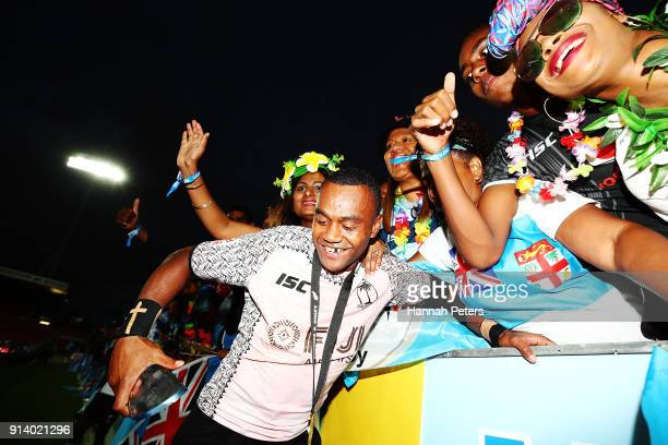 Alasio Sovita Naduva of Fiji celebrates with fans after winning the Cup final match between Fiji and South Africa the 2018 New Zealand Sevens at FMG...
