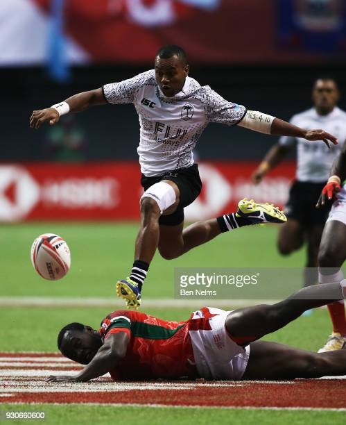 Alasio Sovita Naduva of Fiji jumps over Billy Odhiambo of Kenya for the ball during the gold medal game at Canada Sevens the Sixth round of the HSBC...