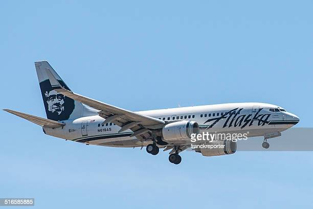 alaska airlines airplane before the landing in san diego