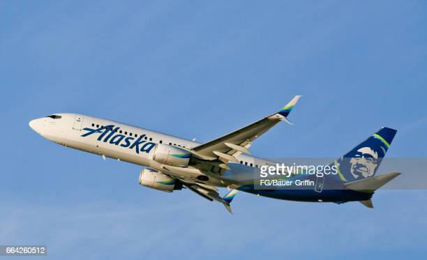 Alaska Airlines Boeing 737 departing LAX on February 06 2017 in Los Angeles California