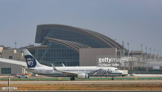 Alaska Airlines Boeing 737 takes off from Los Angeles international Airport on August 13 2017 in Los Angeles California