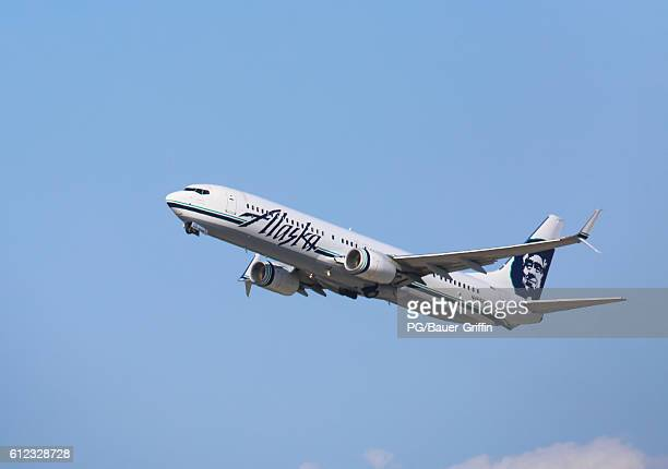 Alaska Airlines Boeing 737 taking off from LAX on October 03 2016 in Los Angeles California