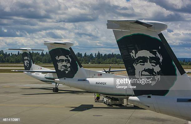 Alaska Airlines jets are parked at the C Terminal of SeattleTacoma International Airport on June 2 in Seattle Washington Seattle located in King...