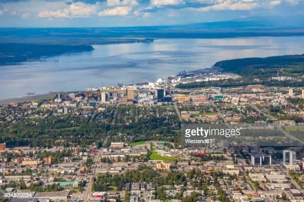 usa, alaska, anchorage, aerial view - golfo do alasca imagens e fotografias de stock
