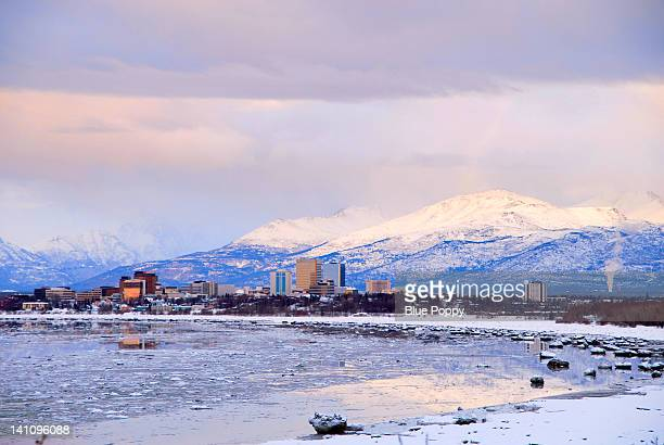 alaska anchorage at sunset - anchorage alaska stock photos and pictures