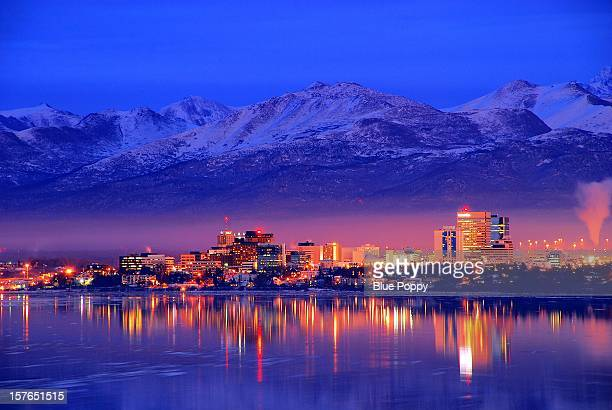 alaska  anchorage downtown skyline - anchorage alaska stock photos and pictures