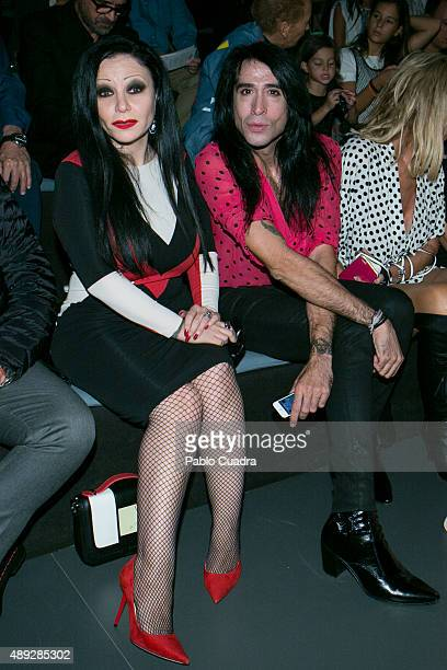 Alaska and Mario Vaquerizo are seen attending the MercedesBenz Fashion Week Madrid Spring/Summer 2016 at Ifema on September 20 2015 in Madrid Spain