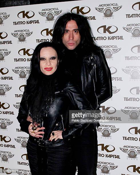 Alaska and Mario Vaquerizo attend a Fonsi Nieto presentation of 'Motorcycle Sessions' at Teatro Kapital on December 2 2010 in Madrid Spain