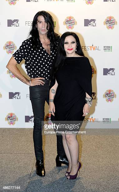 Alaska and Mario Vaquerizo attend 'Alaska y Mario' Tv show new season presentation during FesTVal 2015 on September 2 2015 in VitoriaGasteiz Spain