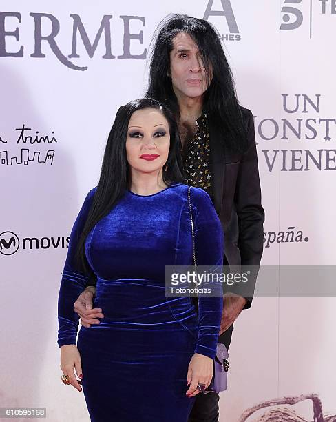 Alaska and Mario Vaquerizo attend the 'A Monster Calls' premiere at The Royal Theatre on September 26 2016 in Madrid Spain