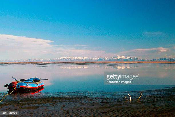 Alaska Arctic National Wildlife Refuge Raft on Sand Shoal in the Arctic Ocean looking south over Ocean Coastal Plain to Brooks Mountains and...