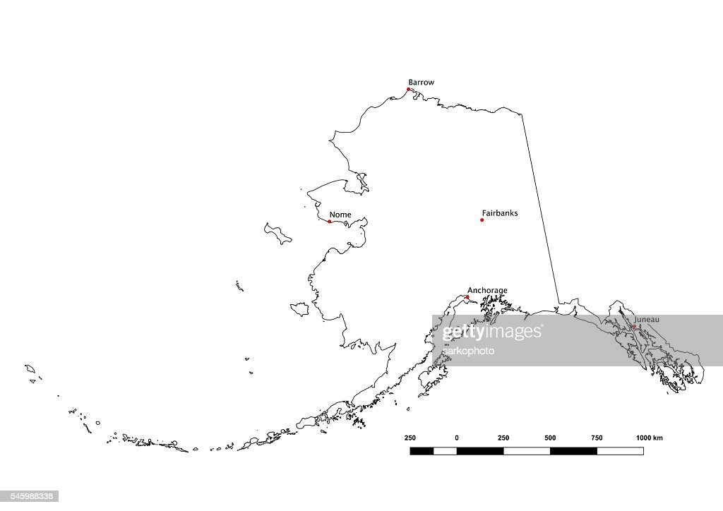 Alaska Black And White State Outline With Major Cities 2015 Stock
