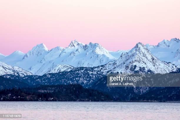 alaska coastal mountains sunset - kachemak bay stock pictures, royalty-free photos & images