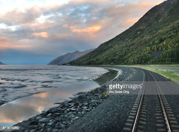 Alaska Coastal Railway Track in Kenai Peninsula