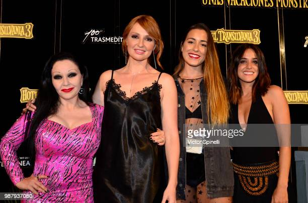 Alaska Cristina Castaño Paula Gonu and Macarena García attend at the Hotel Transilvania 3 Ibiza Premiere on June 28 2018 in Ibiza Spain