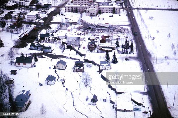 Alaska Earthquake March 27 A Subsidence Trough Formed At The Head Of The L Street Landslide In Anchorage During The Earthquake The Slide Block Which...
