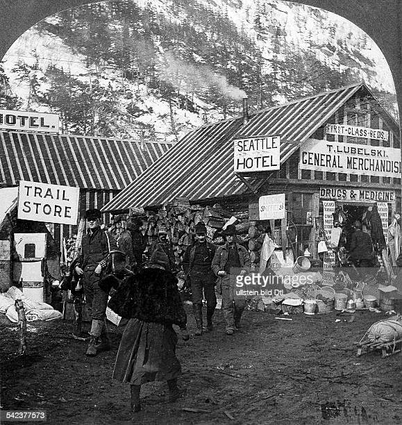 USA Alaska Gold Rush Alaska / Yukon / Klondike 189698 and the following years shops and hotels for gold digger in Sheep Camp the last place before...
