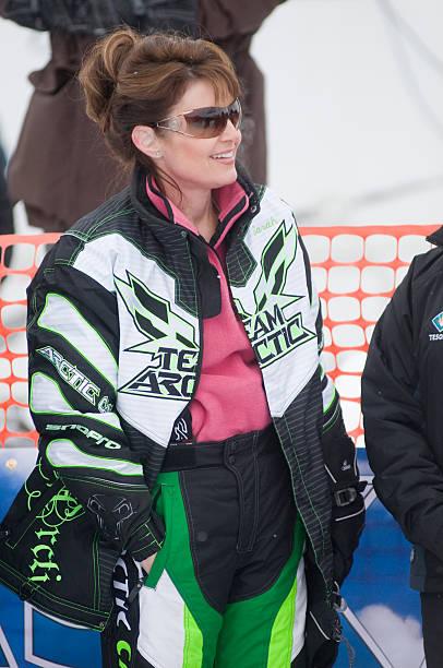 Alaska Governor Sarah Palin watching the Iron Dog snowmobile Race, Wasilla/Big Lake, Alaska
