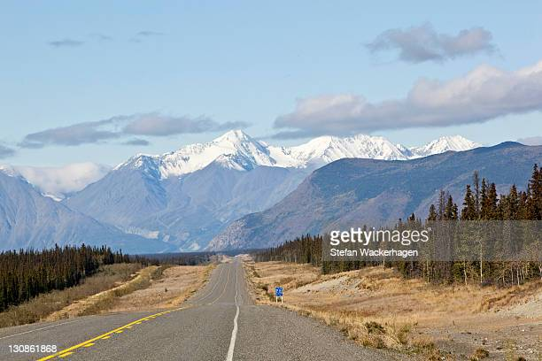 alaska highway, north of whitehorse towards haines junction, st. elias mountains, kluane national park and reserve behind, yukon territory, canada - wildlife reserve stock pictures, royalty-free photos & images