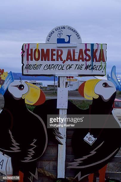 USA Alaska Homer Homer Spit Halibut Capital Of The World Sign