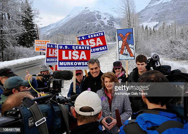 Alaska Incumbent Sen Lisa Murkowski talks to the media after she cast her ballot at the Girdwood Community Center in Girdwood Alaska on Tuesday...