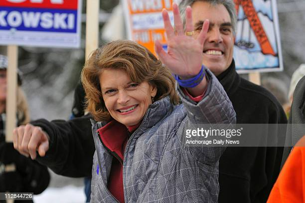 Alaska Incumbent Sen Lisa Murkowski waves to supporters after she cast her ballot at the Girdwood Community Center in Girdwood Alaska on Tuesday...
