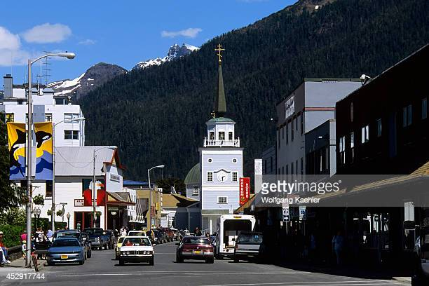 USA Alaska Inside Passage Baranof Island Sitka Street Scene With St Michael's Cathedral