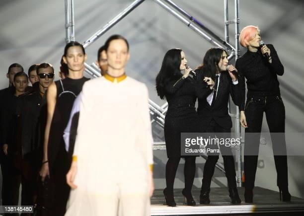 Alaska, Mario Vaquerizo and Bimba Bose sing at the runway in the Davidelfin fashion show during the Mercedes-Benz Fashion Week Madrid Autumn/Winter...