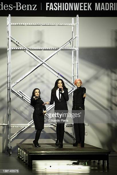 Alaska Mario Vaquerizo and Bimba Bose sing on the catwalk during the Davidelfin fashion show during the MercedesBenz Fashion Week Madrid...