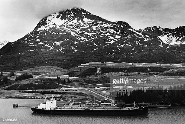 Alaska pipeline oil from the North Slope is loaded onto an oil tanker in this 1982 Valdez Alaska photo taken from a helicopter
