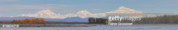 alaska range with mt. foraker, mt. hunter and denali - rainer grosskopf stock pictures, royalty-free photos & images