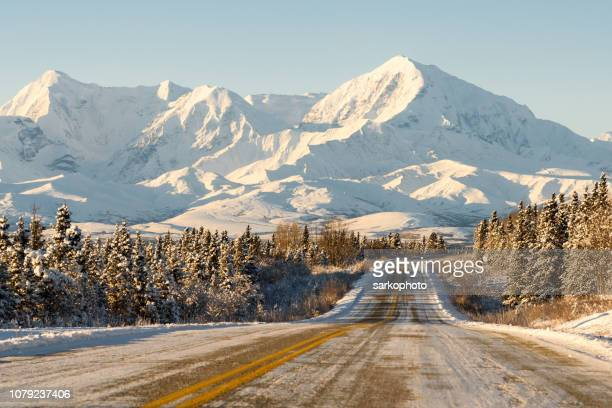 Alaska Remote Winter Highway with Mountains