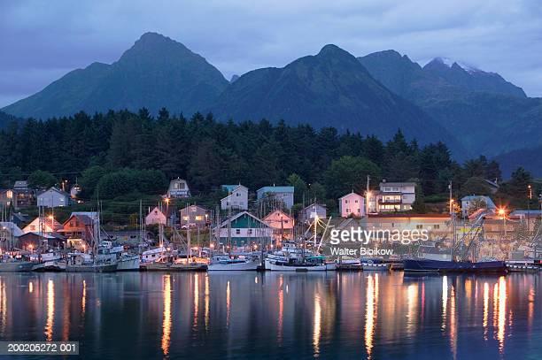 USA, Alaska, Sitka, harbor and town, evening