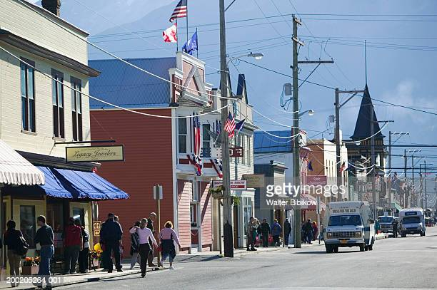 USA, Alaska, Skagway, street scene on Broadway