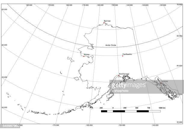 Alaska State Outline in Black and White, Lat/Long, Major Cities
