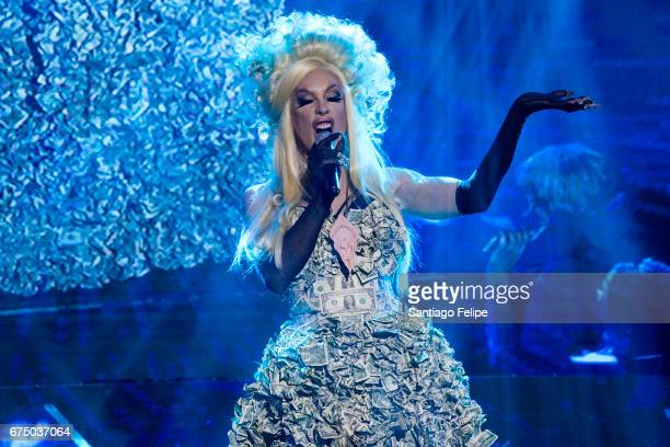 Alaska Thunderfuck performs onstage during VH1 Presents RuPaul's DragCon Party 'Battle On The Runway' at Globe Theatre on April 29 2017 in Los...