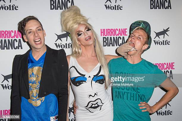 Alaska Thunderfvck Willam Belli and Courtney Act attend the premiere of Wolfe Releasing's 'Hurricane Bianca' at The Renberg Theatre on September 21...
