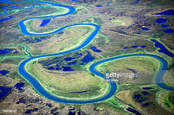 Alaska, Togiak National Wildlife Refuge, Togiak river, aerial view