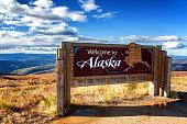 Alaska, USA: Welcome to Alaska sign at Canadian border on Top of the World Highway