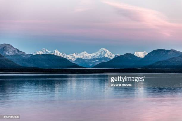 alaska's inside passage: glacier bay np at dawn, summer - mountain range stock pictures, royalty-free photos & images