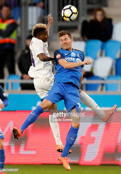 Alassane Diallo of Ujpest FC battles for the ball in the air with Adam Hrepka of MTK Budapest during the Hungarian Cup Quarter Final 2nd Leg match...