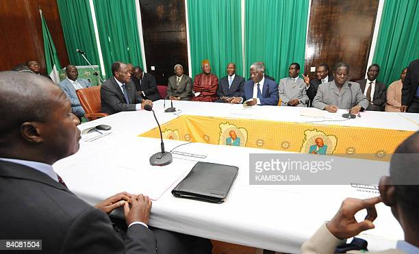 Alassane Dramane Ouattara , former Ivorian prime minister and president of Rally for the Republicans , and Konan Bedie , former President and...